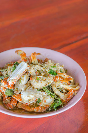 stir fried: Stir fried Crab with chili & Basil leaves , spicy seafood dish