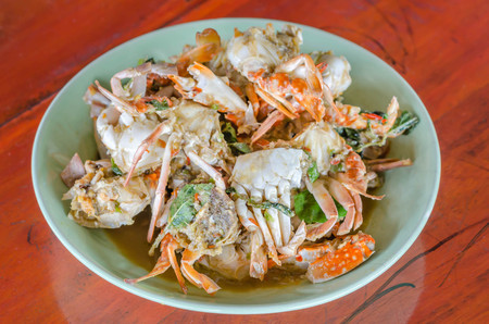 sauce dish: Stir fried Crab with chili & Basil leaves , spicy seafood dish