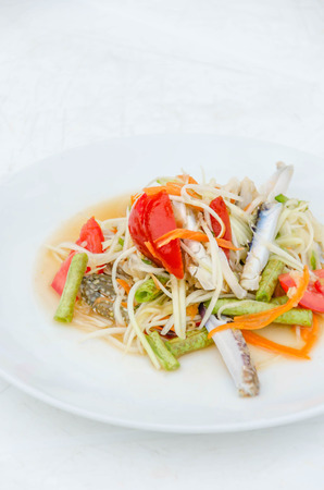 poo: spicy papaya salad with blue crab, som tum poo ma
