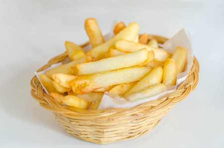 Traditional French fries in a bamboo basket