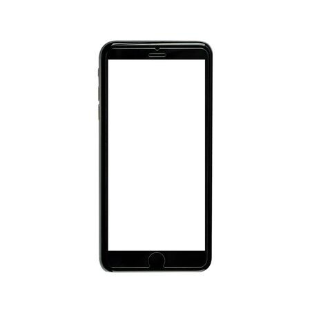 touchpad: Realistic black mobile phone with white  blank screen
