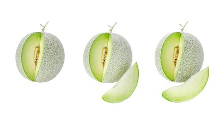 shopped green melon isolated on white background Stock Photo