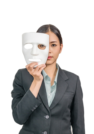 asian woman with white mask and a business suit on white background