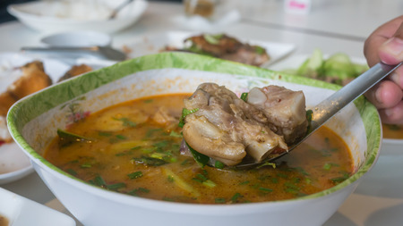 Chinese style soup, steamed pork spare ribs and vegetable, hot and spicy