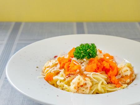 Spaghetti carbonara with shrimp and eggs prawns