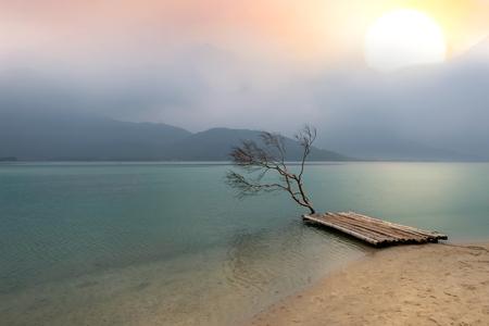 Albero e zattera di bambù con il mare calmo riflette il cielo limpido come uno specchio con sfondo color pastello