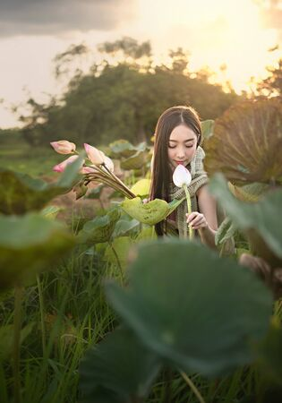 beautiful woman in traditional asian dresses harvesting water lilies in garden