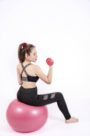 Portrait of  fitness sport girl in fashion sportswear. healthcare concept Foto de archivo - 128100664