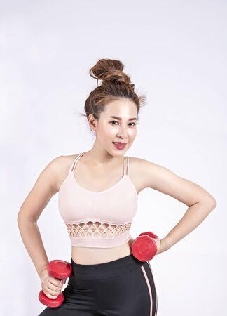 Portrait of  fitness sport girl in fashion sportswear. healthcare concept Foto de archivo - 128100910
