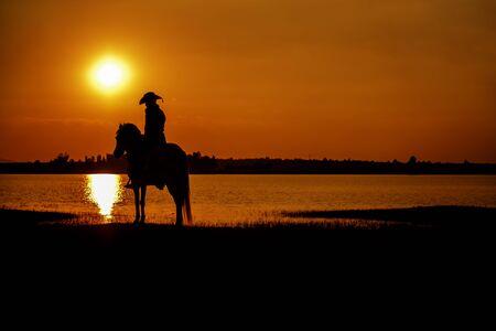 silhouette cowboy on horseback during nice sunset landscape background