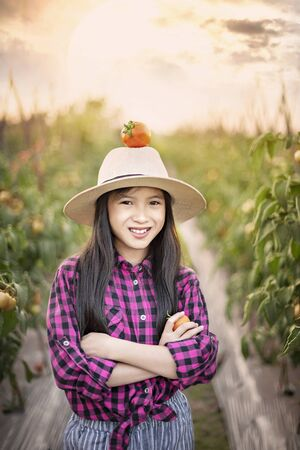 Asian cute girl with red tomato on hat , harvesting fresh vegetables in garden