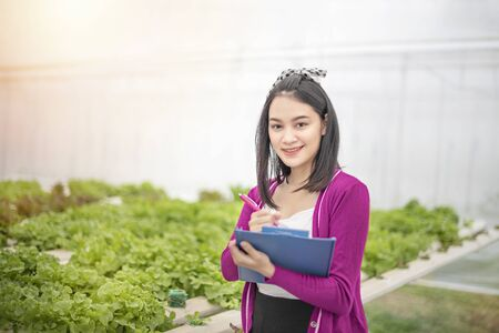 Asian woman checking report organic hydroponic fresh vegetables produce in farm, agriculture business, healthy food concept Banco de Imagens