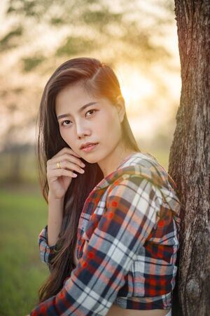 portrait of the asian woman with beauty face
