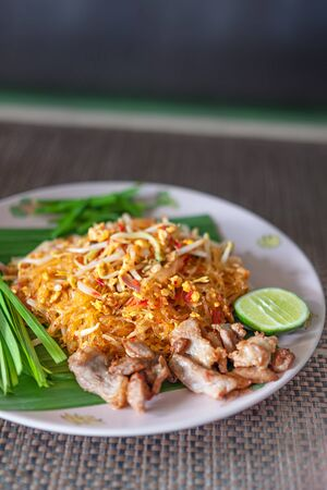 favorite thai cuisine , thai food pad thai , stir fry noodles with pork