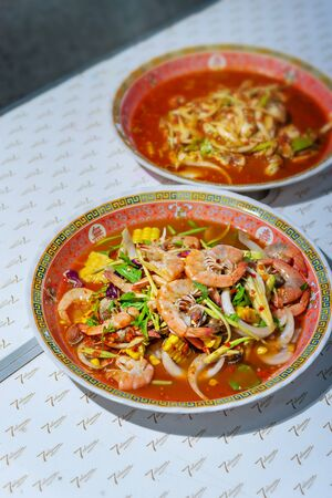 spicy salad , shrimp and mix vegetable , asian food Banco de Imagens