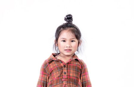 portrait of asian little girl  over white background