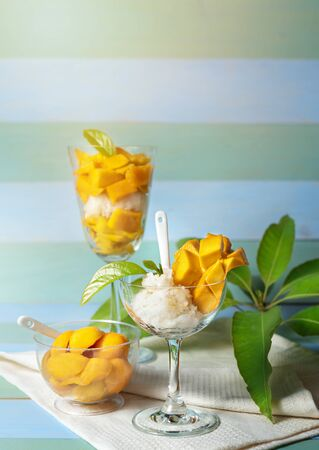 fresh ripe mango and sticky rice with coconut milk,  Thai sweet dessert Banco de Imagens