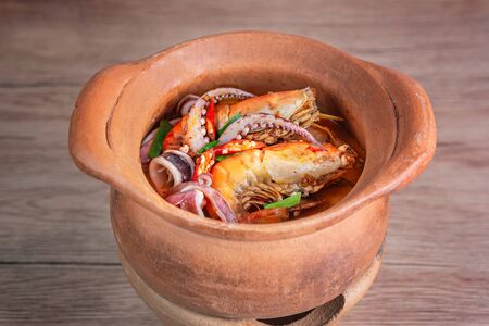 Spicy seafood soup , Traditional food in Thailand