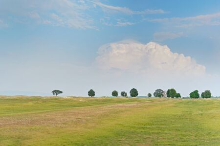 landscape of green field with blue sky background Banco de Imagens