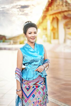 Portrait of beautiful woman in traditional asian dresses Banco de Imagens