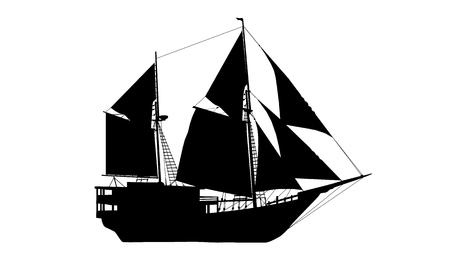 Navire de couleur noire Vecteurs