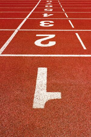 athletics track: Number on a Red Running Track  Stock Photo