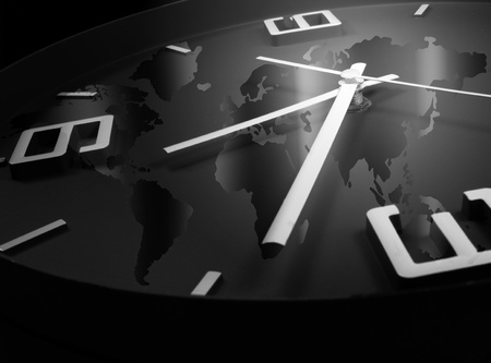 Clock with world map background Stock Photo