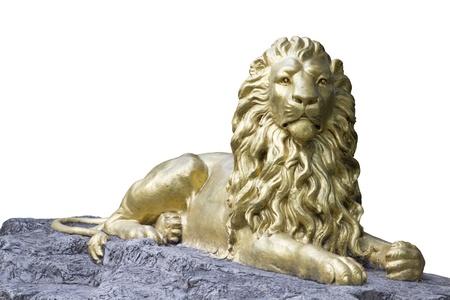 lions rock: golden lion statue