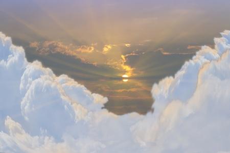 bird eye view: a dramatic beautiful sunset and cloud