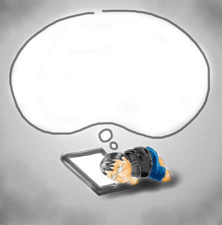 day dream: a guy sleep and day dream on tablet
