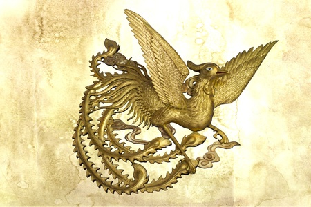 Phoenix on stain wall background  Stock Photo