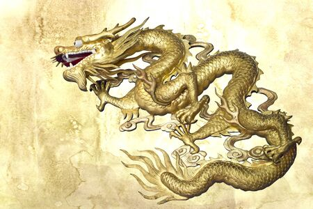 Chinese art, Dragon on stain wall background Stock Photo