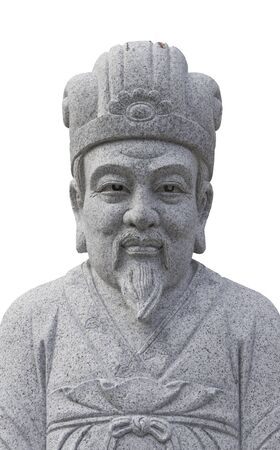 white marble: white marble statue chinese noble from public temple in Malaysia Stock Photo