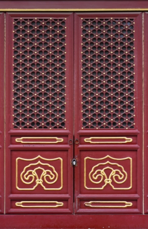 Chinese traditional red and gold door pattern style photo