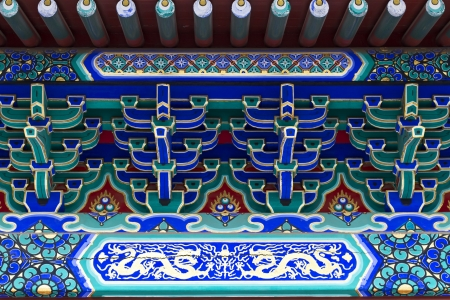chinese traditional decorative ornament for roof detail photo