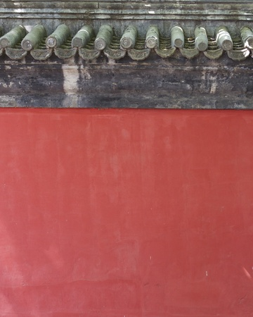 buddhist temple roof: Chinese red wall and roof top background