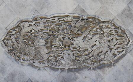Chinese dragon and phoenix beautiful sculpture