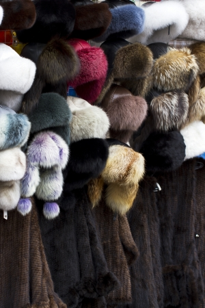 Russian Fur hat shop, moscow Stock Photo