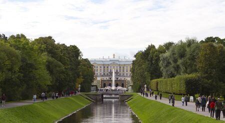 ST.PETERSBURG, RUSSIA - SEP 13:The Peterhof Palaceis a series of palaces and gardens laid out on the orders of Peter the Great. The palace-ensemble along with the city centre is recognised as a UNESCO World Heritage Site. St.Petersburg, Russia on Sep 13,