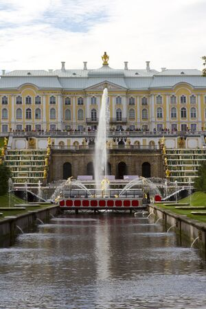 recognised: ST.PETERSBURG, RUSSIA - SEP 13:The Peterhof Palaceis a series of palaces and gardens laid out on the orders of Peter the Great. The palace-ensemble along with the city centre is recognised as a UNESCO World Heritage Site. St.Petersburg, Russia on Sep 13,