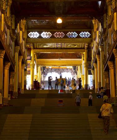 Walk way to Shwedagon pagoda in Yagon, Myanmar Editorial