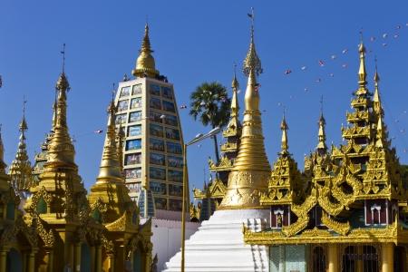 surround pagoda of Shwedagon pagoda in Yagon, Myanmar Stock Photo
