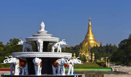 Shwedagon pagoda in Yagon, Myanmar from people park
