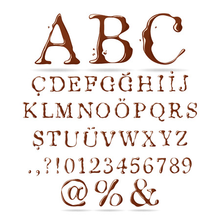 upper case: Chocolate Alphabet Upper Case Illustration