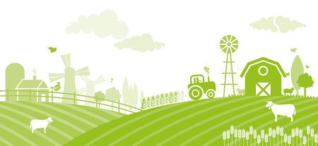 paysage agricole au coucher du soleil - Illustration
