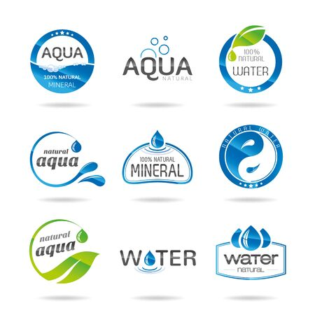 drops of water: Water design elements   icon - Illustration