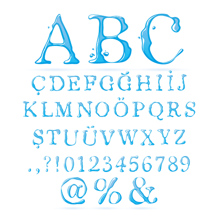 upper case: Water Alphabet Upper Case - Illustration Illustration