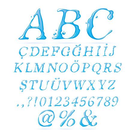 italic: Water Alphabet Upper Case Italic - Illustration Illustration