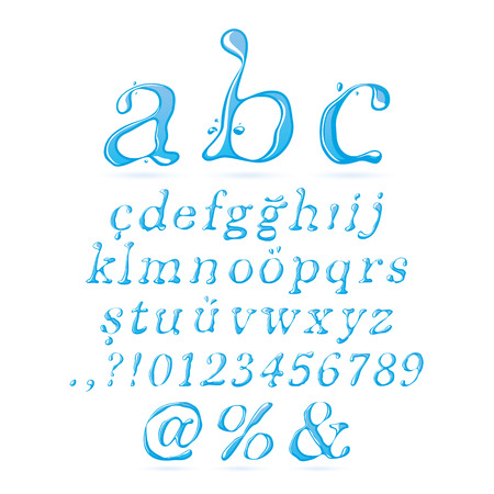 italic: Water Alphabet Lower Case Italic - Illustration Illustration
