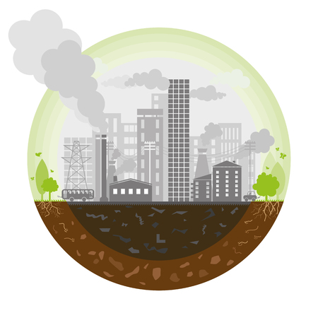 car pollution: Polluted earth - Illustration